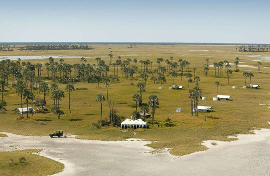 Aerial view over our oasis camp, Botswana
