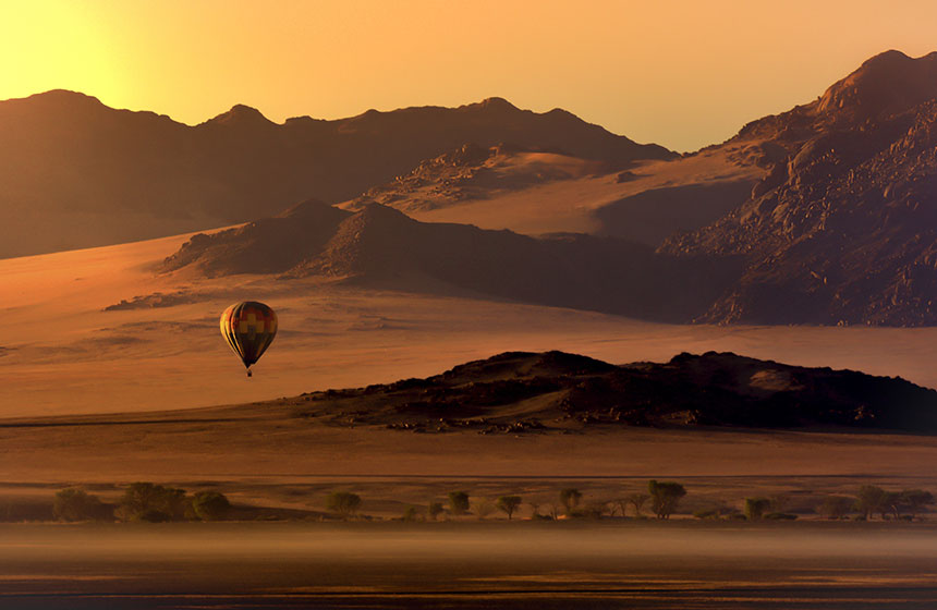 Hot air balloon over the desert, Namibia