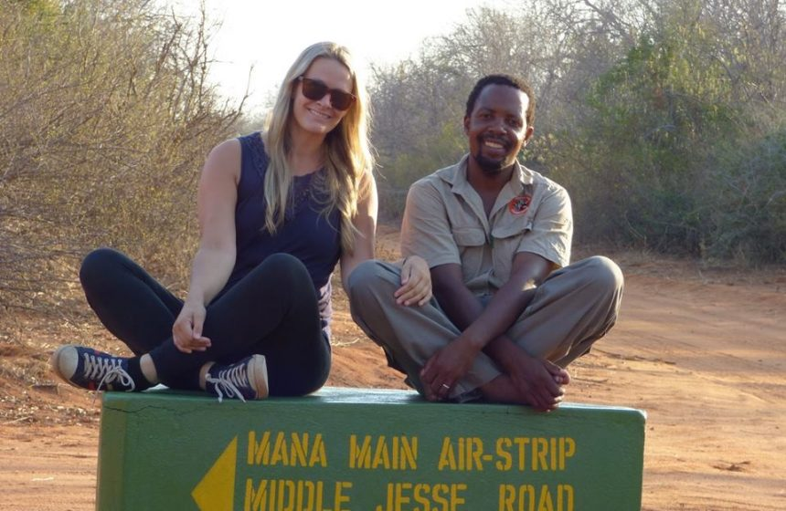 Colleen and Fannuel, out the Painted Dog Conservation SAfari