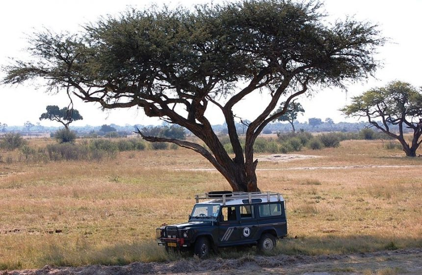 Parked jeep in the shade, Escape to Africa Safaris